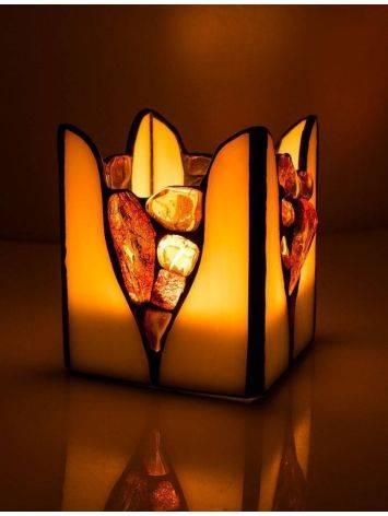 Подсвечник из молочного стекла «Витраж», украшенный цельными кусочками прозрачного янтаря, фото , изображение 2
