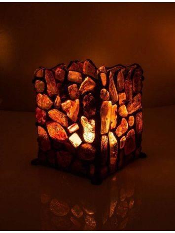 Подсвечник «Витраж», созданный из цельных кусочков прозрачного янтаря, фото , изображение 2