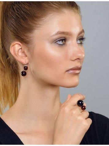 Кольцо из серебра с натуральным вишнёвым янтарём «Поцелуй в Париже», Размер кольца: б/р, фото , изображение 3