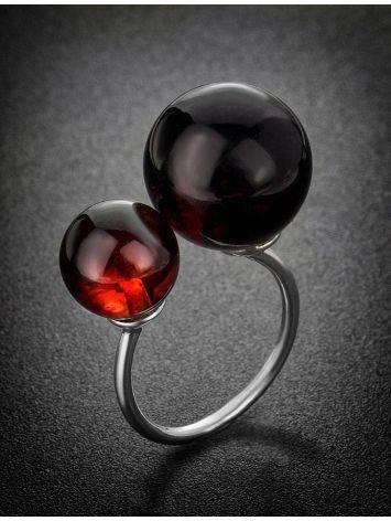 Кольцо из серебра с натуральным вишнёвым янтарём «Поцелуй в Париже», Размер кольца: б/р, фото , изображение 2