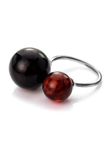Кольцо из серебра с натуральным вишнёвым янтарём «Поцелуй в Париже», Размер кольца: б/р, фото , изображение 5