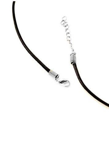 Черный кожаный шнурок для подвесок на застежке-карабине, фото , изображение 4