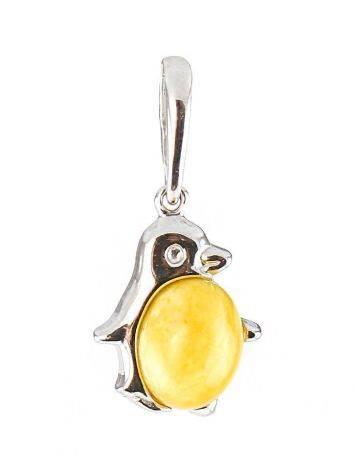 Небольшой серебряный кулон из натурального медового янтаря в серебре «Пингвин», фото