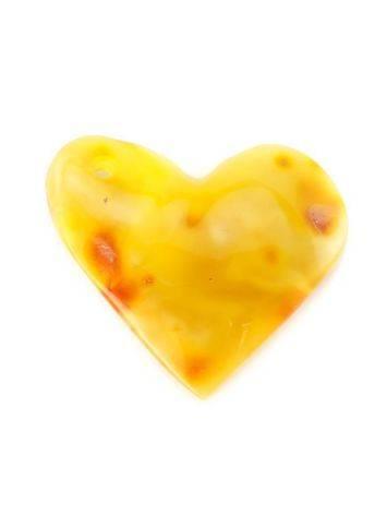 Подвеска-сердце из натурального живописного янтаря насыщенного медового цвета, фото