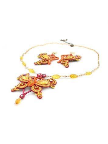 Ажурное плетеное колье с вставками из натурального медово-золотистого янтаря «Индия», фото , изображение 4