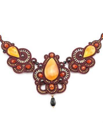 Красное ажурное колье с элементами плетения и вставками из натурального медового янтаря «Индия», фото , изображение 2