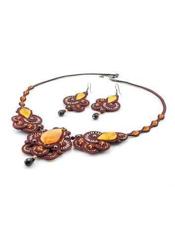 Красное ажурное колье с элементами плетения и вставками из натурального медового янтаря «Индия», фото , изображение 6
