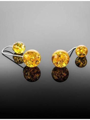 Изысканные асимметричные серьги из серебра с натуральным лимонным янтарём «Пигаль», фото , изображение 5