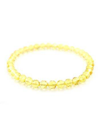 Браслет из цельного натурального янтаря лимонного оттенка «Карамель алмазная грань», фото