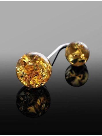 Изысканные асимметричные серьги из серебра с натуральным лимонным янтарём «Пигаль», фото , изображение 3