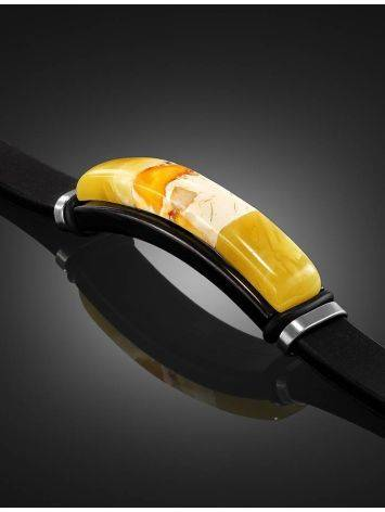 Каучуковый браслет, украшенный янтарной вставкой «Сильверстоун», фото , изображение 2