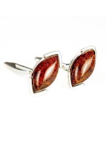 Серебряные запонки с натуральным коньячным янтарём «Маркиз», фото , изображение 3