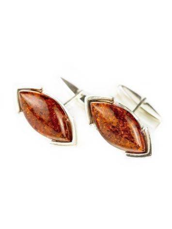 Серебряные запонки с натуральным коньячным янтарём «Маркиз», фото , изображение 2