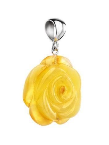 Резная подвеска из цельного медового янтаря «Роза», фото , изображение 3