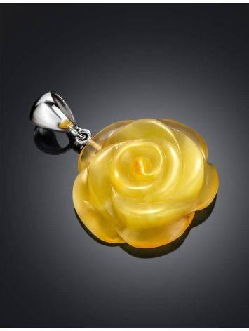 Резная подвеска из цельного медового янтаря «Роза», фото , изображение 2