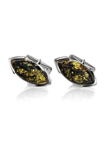 Серебряные запонки с натуральным зелёным янтарем «Маркиз», фото