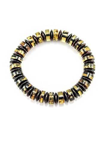 Браслет из натурального цельного янтаря «Карамель шайбы», фото , изображение 2