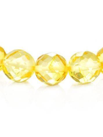 Браслет из натурального янтаря «Карамель алмазная грань», фото , изображение 3