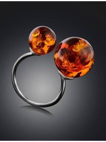 Кольцо из серебра, украшенное коньячным янтарём «Поцелуй в Париже», Размер кольца: б/р, фото , изображение 2