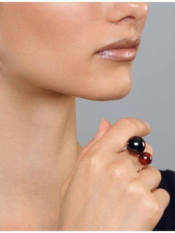 Кольцо из серебра, украшенное коньячным янтарём «Поцелуй в Париже», Размер кольца: б/р, фото , изображение 5