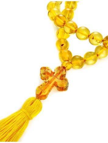 Православные чётки на 50 бусин-шаров из натурального лимонного янтаря, фото , изображение 4