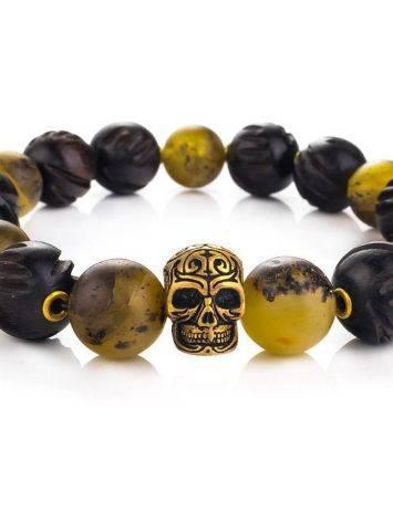 Оригинальный браслет из янтаря и древесины эбена «Куба», фото , изображение 2