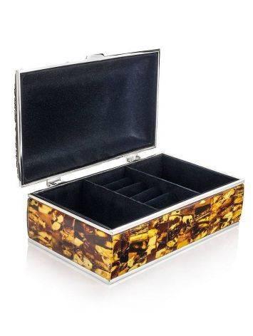 Вместительная шкатулка для украшений, декорированная янтарной мозаикой, фото , изображение 3
