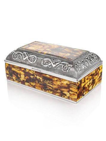 Вместительная шкатулка для украшений, декорированная янтарной мозаикой, фото , изображение 4