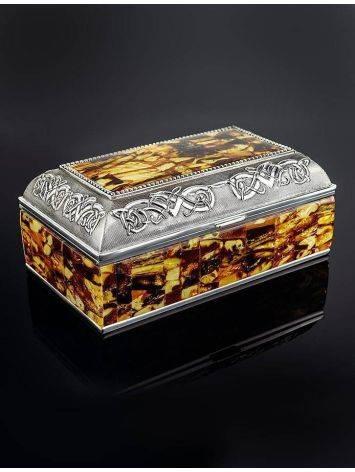 Вместительная шкатулка для украшений, декорированная янтарной мозаикой, фото , изображение 2