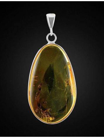 Красивая подвеска из цельного янтаря с включением насекомого в серебряной оправе, фото , изображение 4