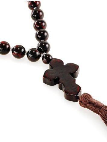 Чётки на 33 бусины с резными разделителями из натурального янтаря вишнёвого цвета, фото , изображение 3