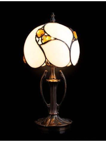 Изящная лампа «Райские птицы» с вставками натурального цельного янтаря, фото , изображение 2