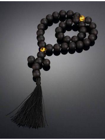 Чётки на 33 бусины-шара из чёрного янтаря из коллекции «Куба», фото , изображение 2