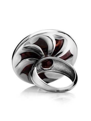 Крупное коктейльное кольцо из серебра с натуральным вишнёвым янтарём «Монако», Размер кольца: 17, фото , изображение 5