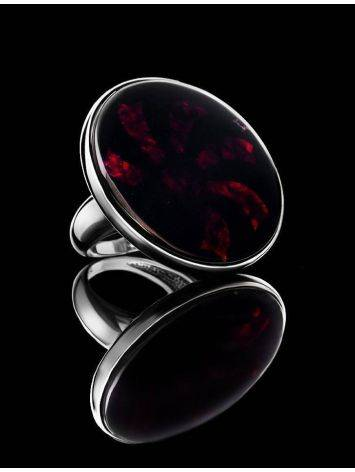 Крупное коктейльное кольцо из серебра с натуральным вишнёвым янтарём «Монако», Размер кольца: 17, фото , изображение 2