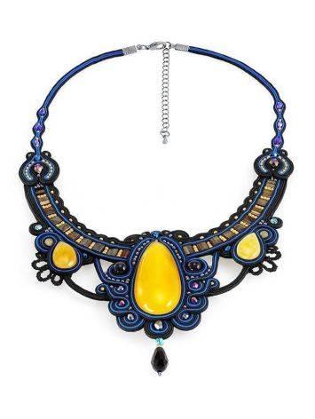 Роскошное плетёное колье «Индия» с натуральным медовым янтарём, фото , изображение 3