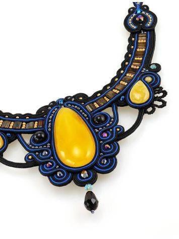 Роскошное плетёное колье «Индия» с натуральным медовым янтарём, фото , изображение 4