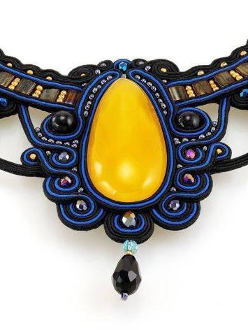 Роскошное плетёное колье «Индия» с натуральным медовым янтарём, фото , изображение 6