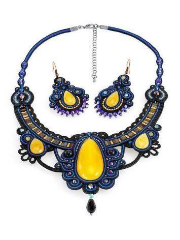 Роскошное плетёное колье «Индия» с натуральным медовым янтарём, фото , изображение 7
