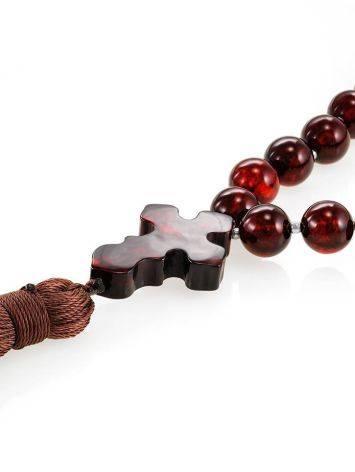 Чётки на 33 бусины с разделителями из натурального янтаря вишнёвого цвета, фото , изображение 3