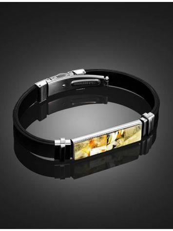 Стильный каучуковый браслет для мужчин «Сильверстоун» с янтарной мозаикой, фото , изображение 2