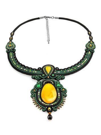 Нарядное плоское колье «Индия» с натуральным медовым янтарём, фото , изображение 3