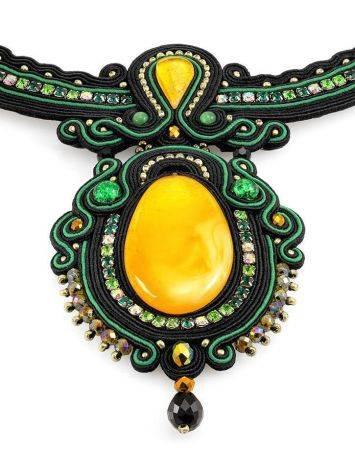 Нарядное плоское колье «Индия» с натуральным медовым янтарём, фото , изображение 4