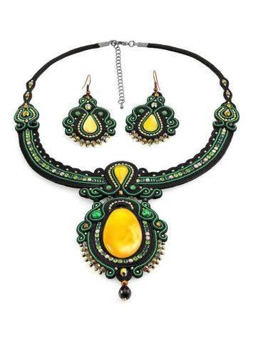 Нарядное плоское колье «Индия» с натуральным медовым янтарём, фото , изображение 6