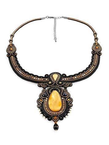 Эффектное плетёное колье, украшенное кристаллами и натуральным янтарём «Индия», фото , изображение 3