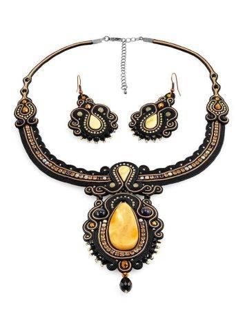 Эффектное плетёное колье, украшенное кристаллами и натуральным янтарём «Индия», фото , изображение 6