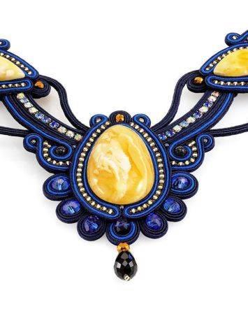 Яркое плетёное колье, украшенное живописным пейзажным янтарём «Индия», фото , изображение 4