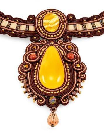 Стильное оригинальное колье, украшенное натуральным балтийским янтарём «Индия», фото , изображение 5
