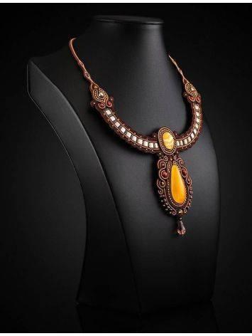 Стильное оригинальное колье, украшенное натуральным балтийским янтарём «Индия», фото , изображение 2