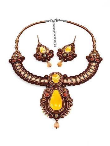Стильное оригинальное колье, украшенное натуральным балтийским янтарём «Индия», фото , изображение 6